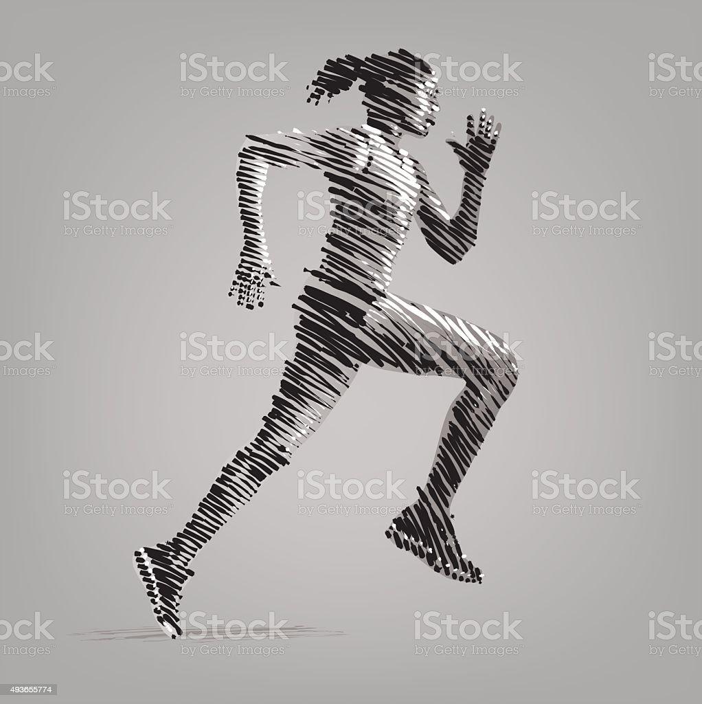 Running woman. vector art illustration