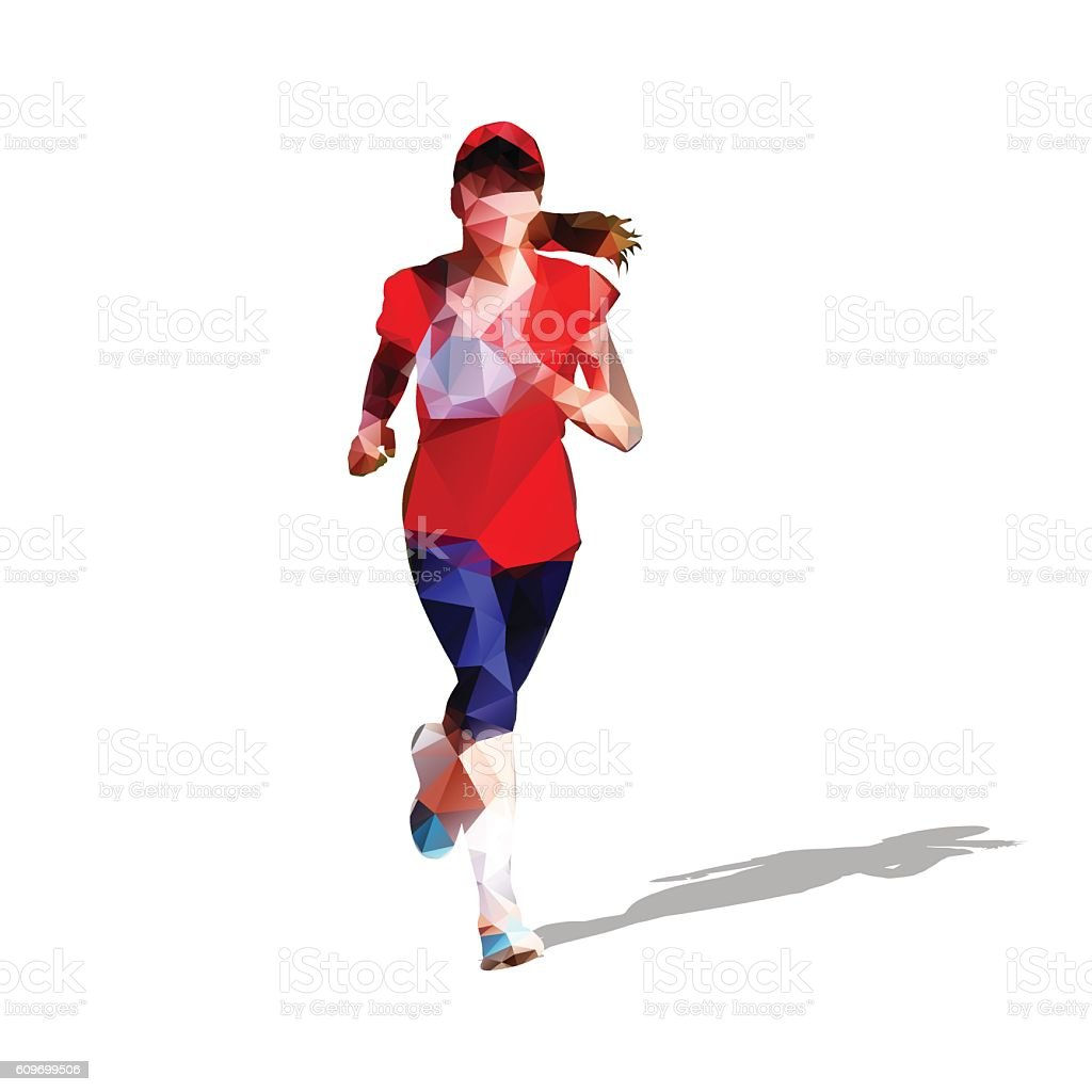 Running young girl, colorful athlete vector art illustration