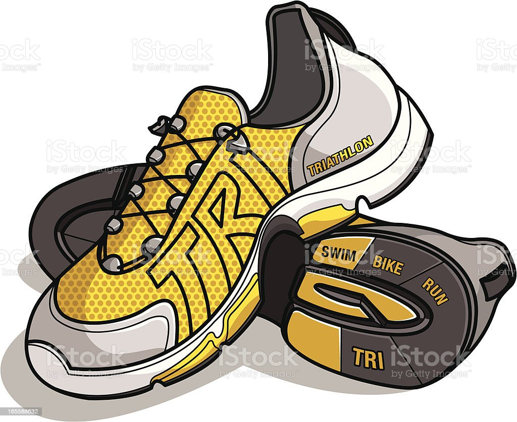 Running/Triathlon shoes with TRI as the logo stitching royalty-free stock vector art