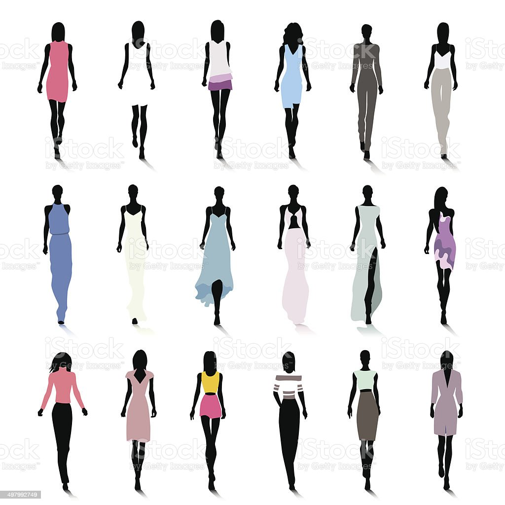 Runway women vector art illustration