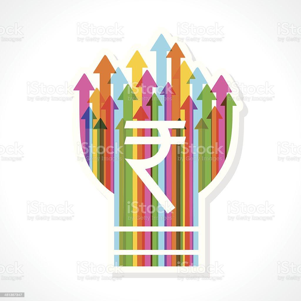Rupee symbol on colorful arrow bulb royalty-free stock vector art