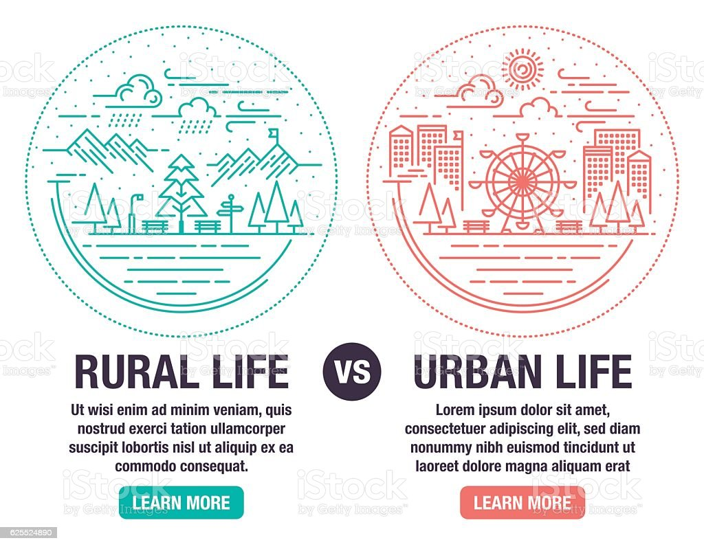 Rural And Urban Life vector art illustration