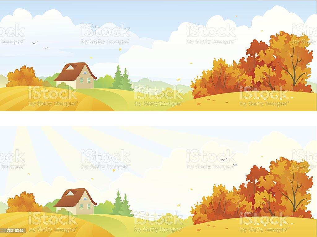 Rural autumn banners vector art illustration