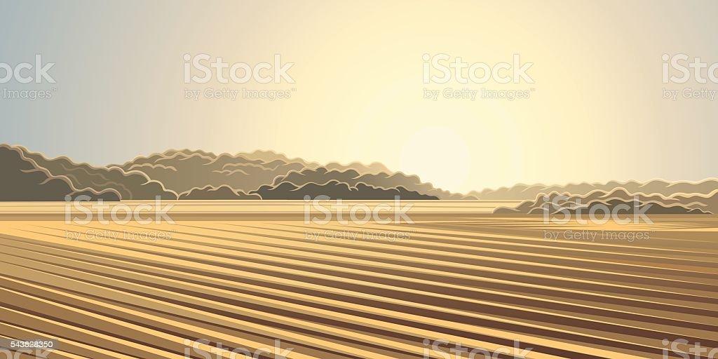 Rural autumn landscape. vector art illustration