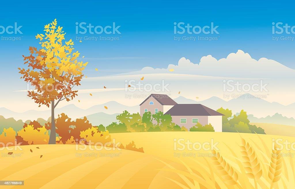 Rural autumn royalty-free stock vector art