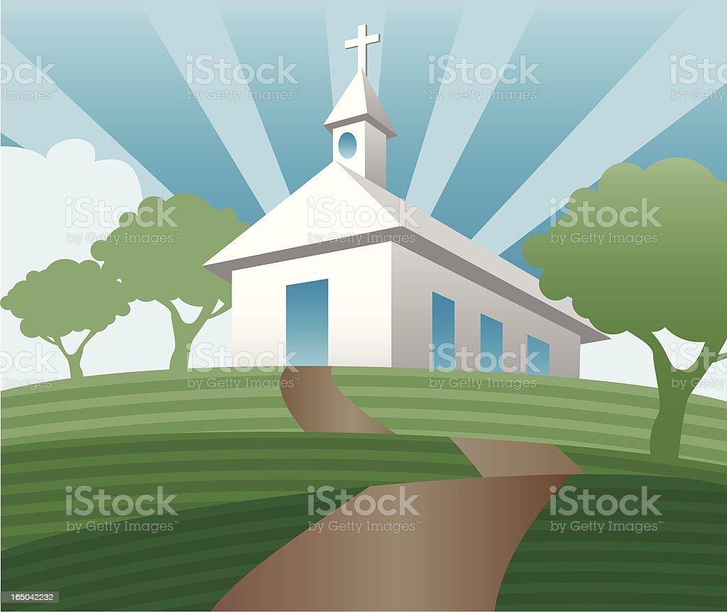 rural church on a hill vector art illustration