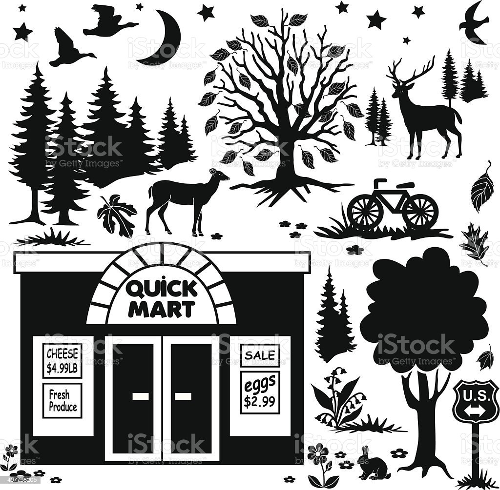 rural convenience store in Autumn design elements royalty-free stock vector art
