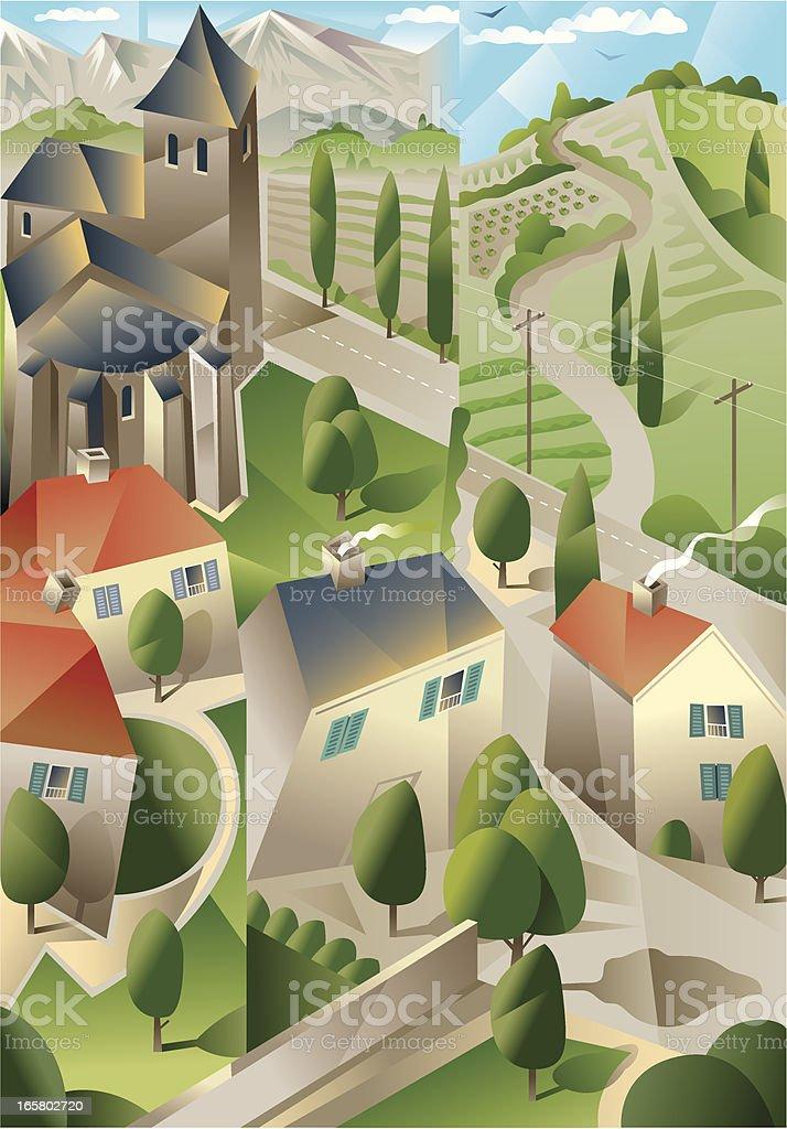 Rural cubism royalty-free stock vector art