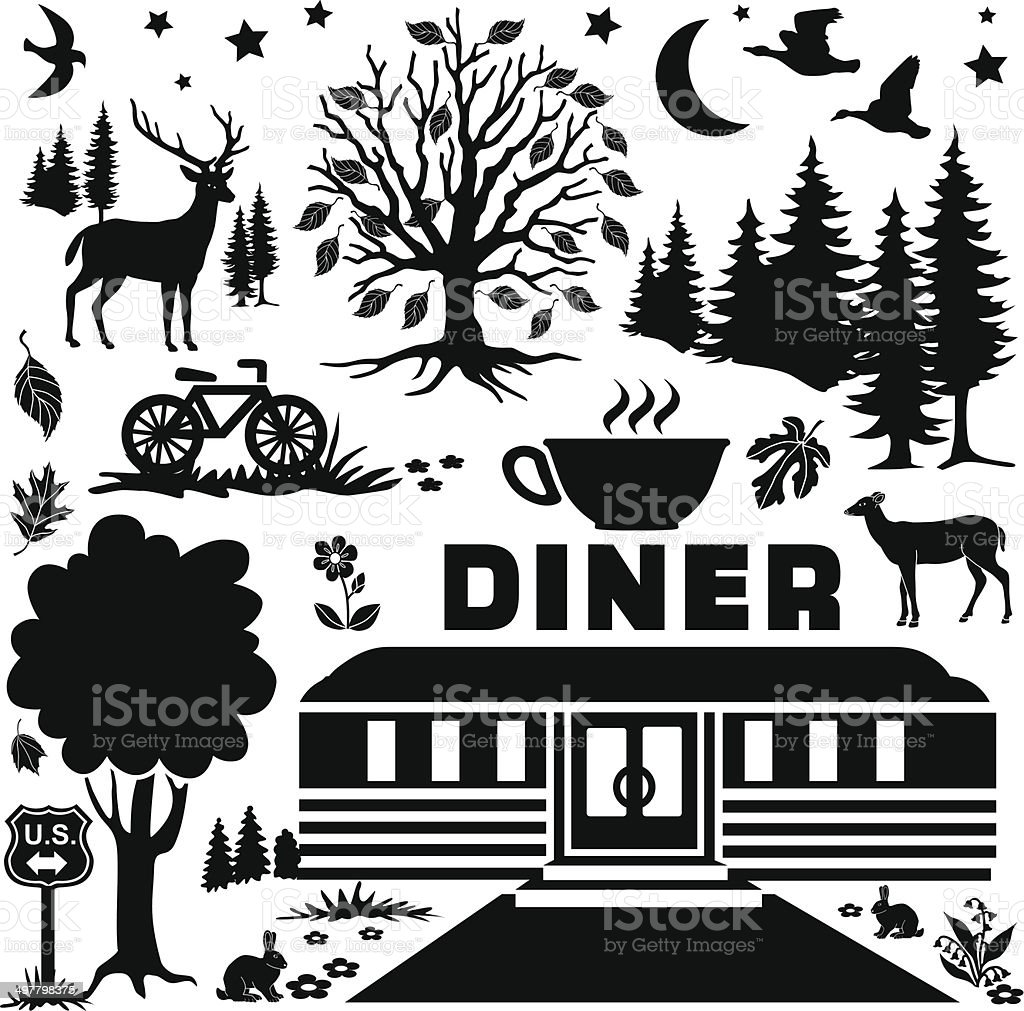 rural diner at night design elements royalty-free stock vector art