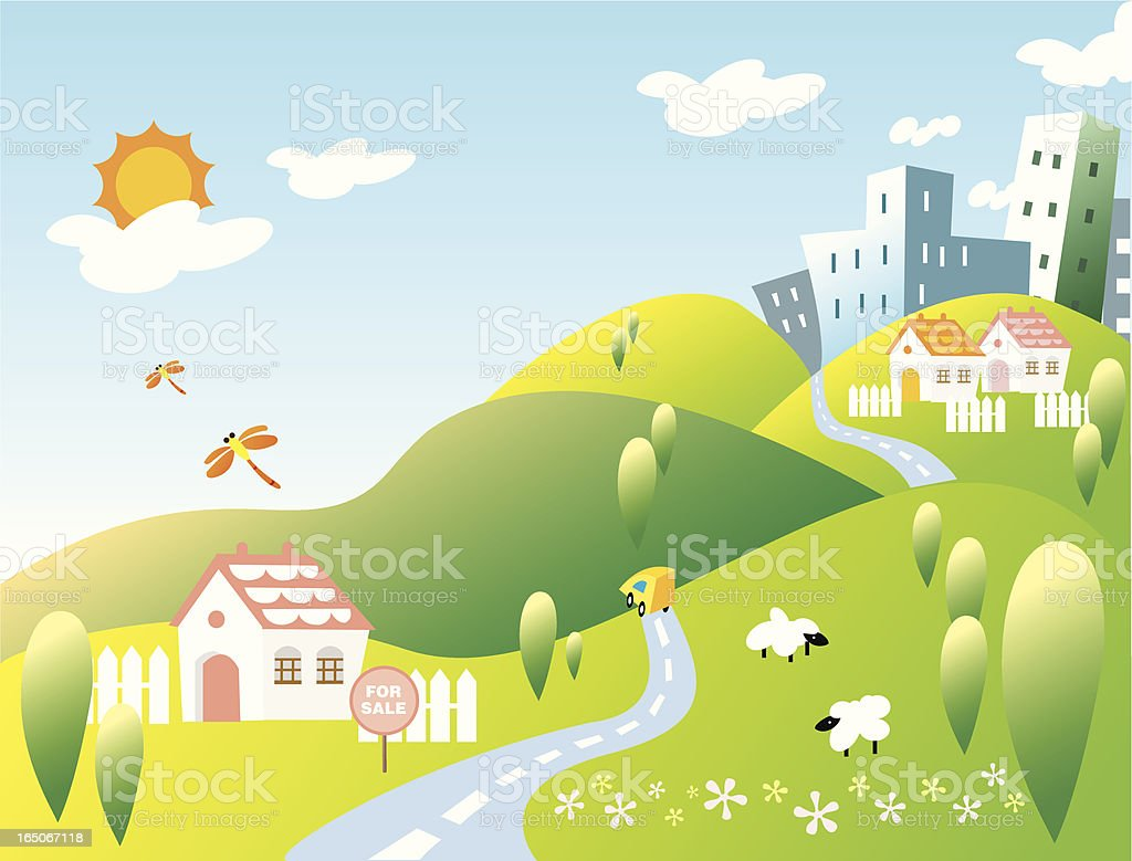 Rural Home and City on Hills Landscape royalty-free stock vector art
