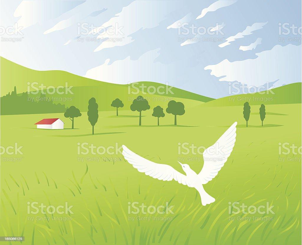 Rural landsape vector art illustration