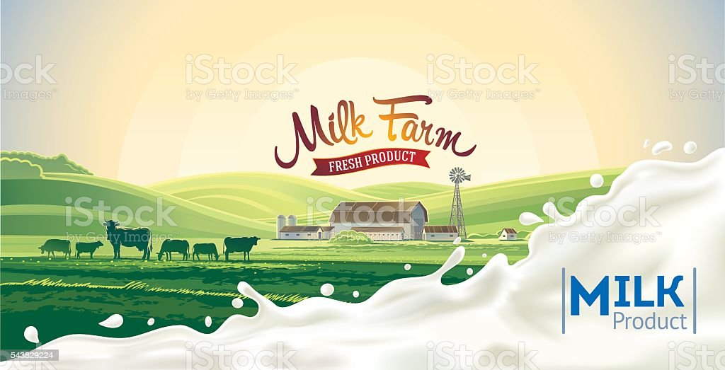 Rural landscape and splash milk. vector art illustration