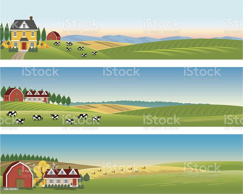 Rural Landscape Banners vector art illustration