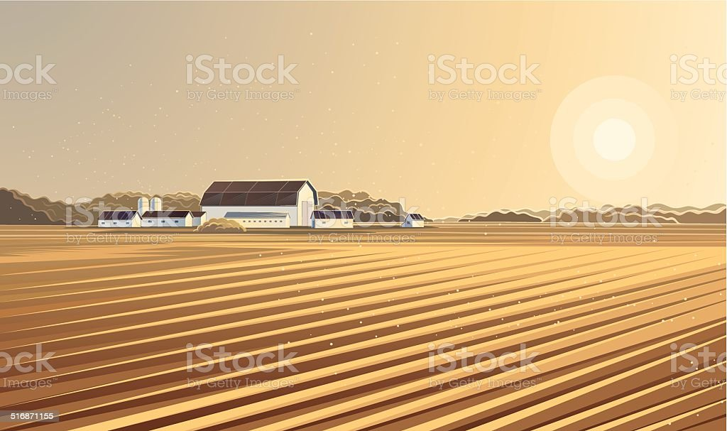 Rural landscape. Farm. vector art illustration