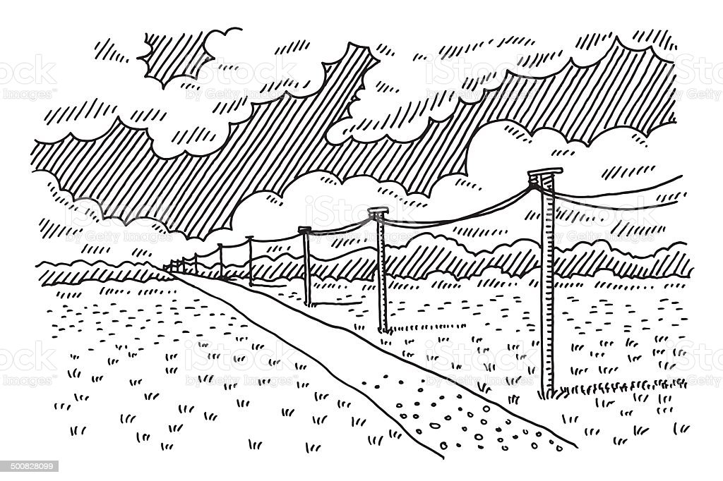 Rural Landscape Road Telephone Poles Drawing vector art illustration