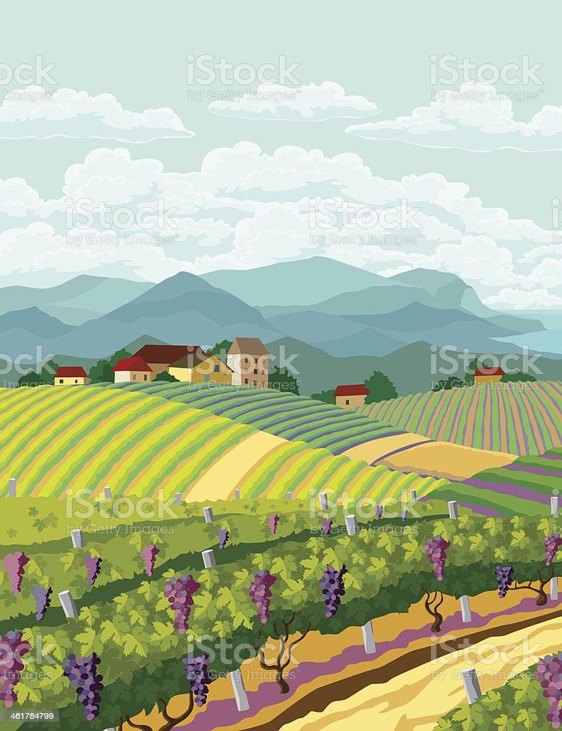 Rural landscape. vector art illustration
