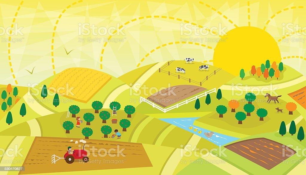 Rural Landscape vector art illustration