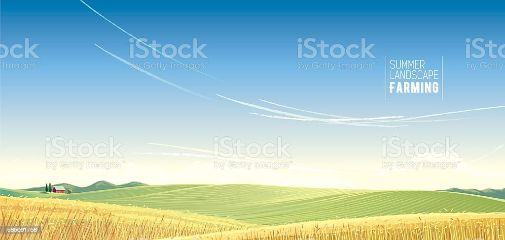 Rural landscape. vector art illustration