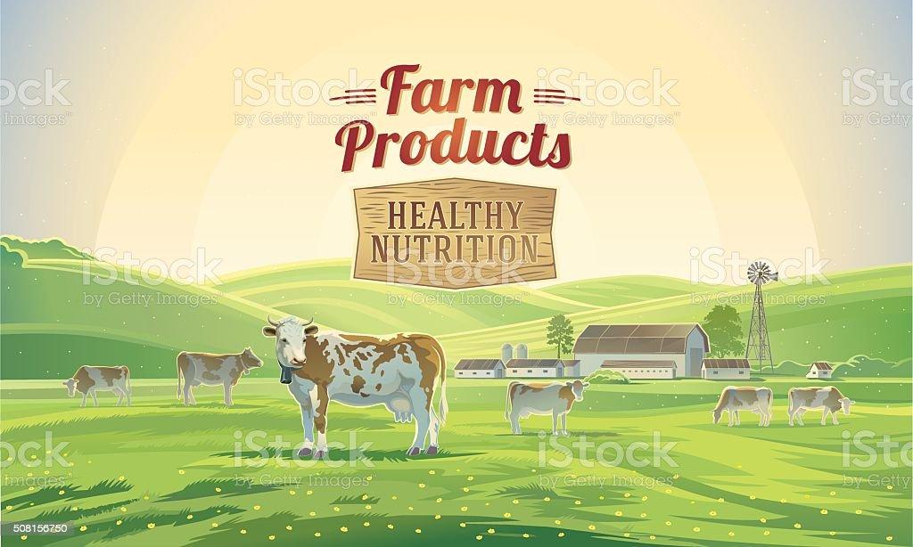 Rural landscape with cows. vector art illustration