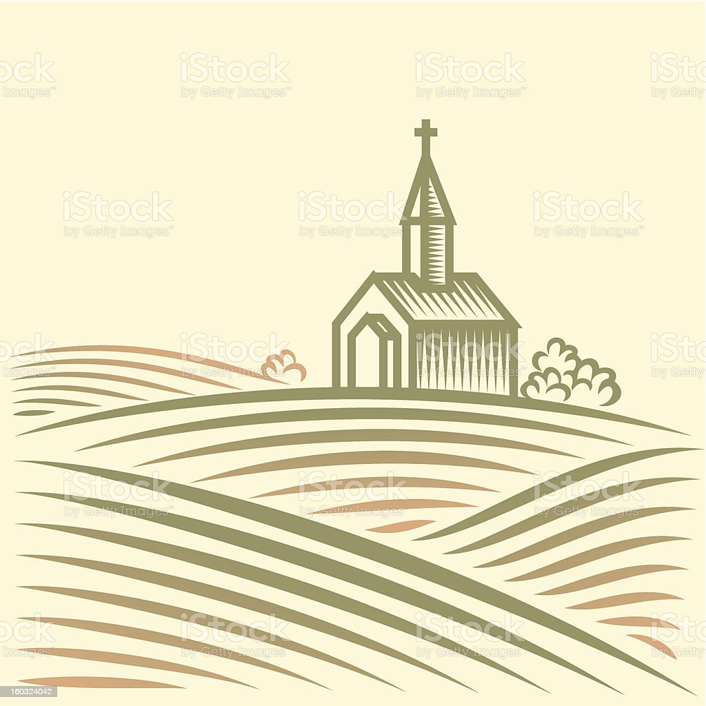Rural landscape with fields and church royalty-free stock vector art