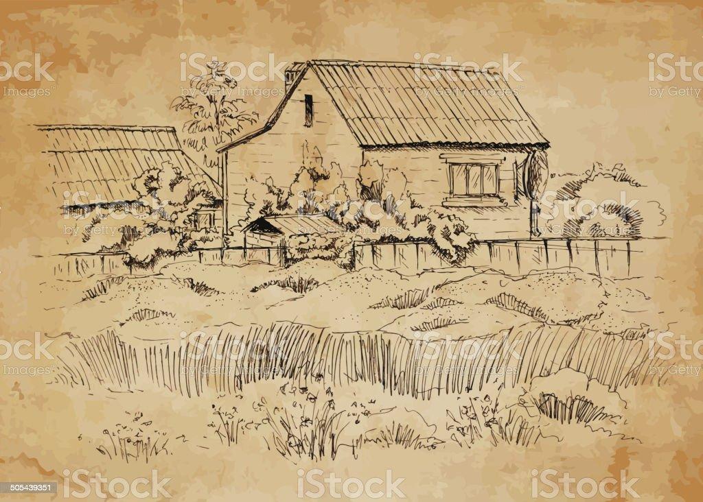 Rural landscape with old farmhouse. vector art illustration