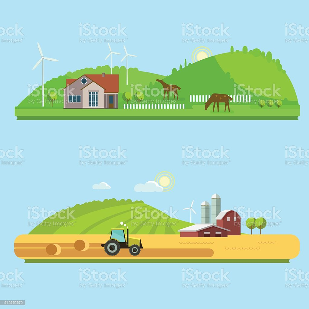 Rural landscapes with fields, hills, and tractor vector art illustration
