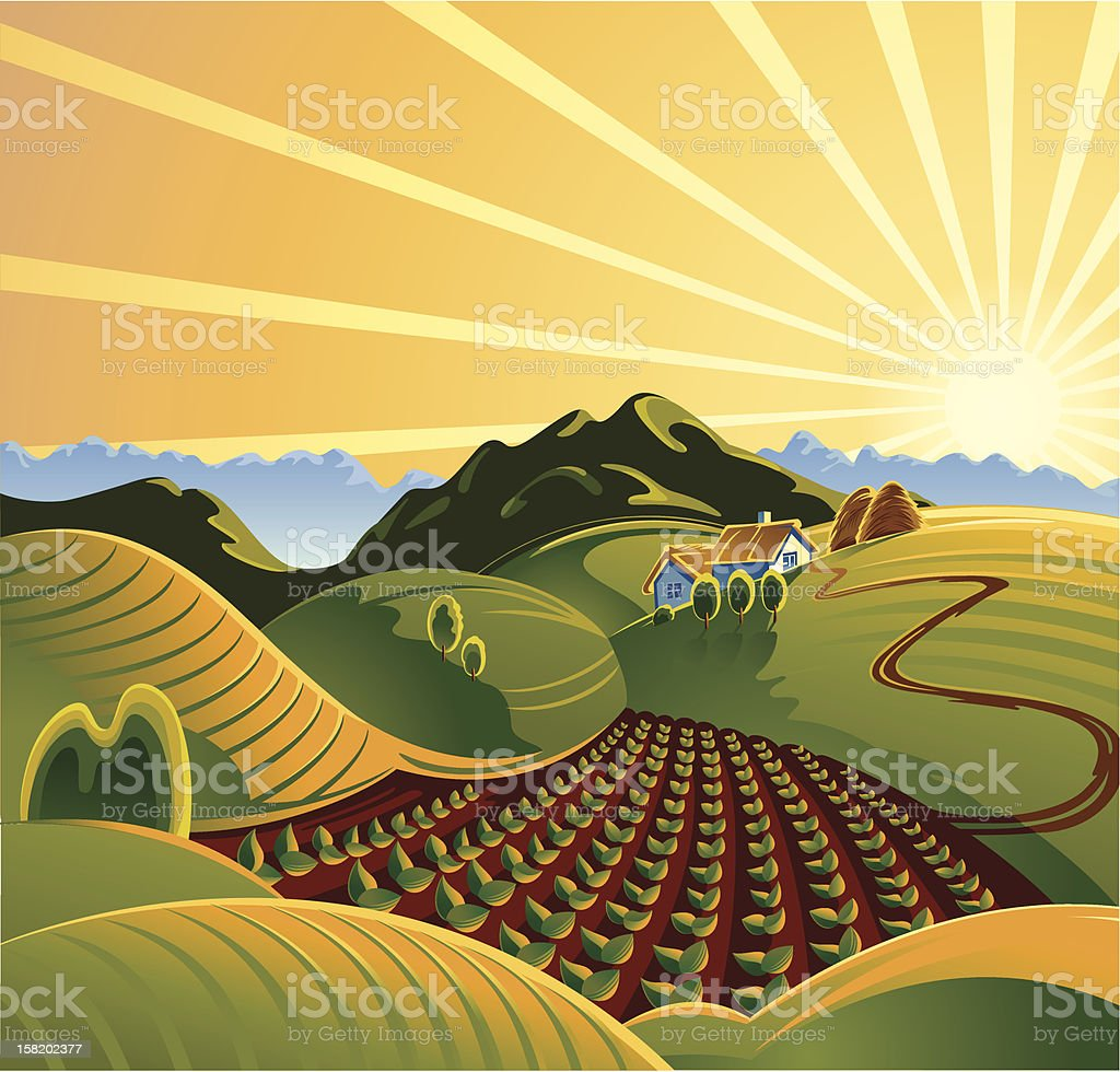 rural mountain landscape royalty-free stock vector art