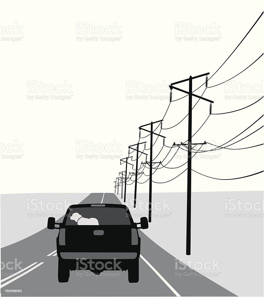 Rural Road Vector Silhouette vector art illustration