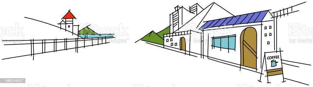 Rural scene background royalty-free stock vector art