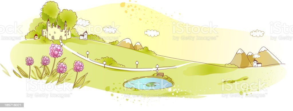 Rural scene with pond royalty-free stock vector art