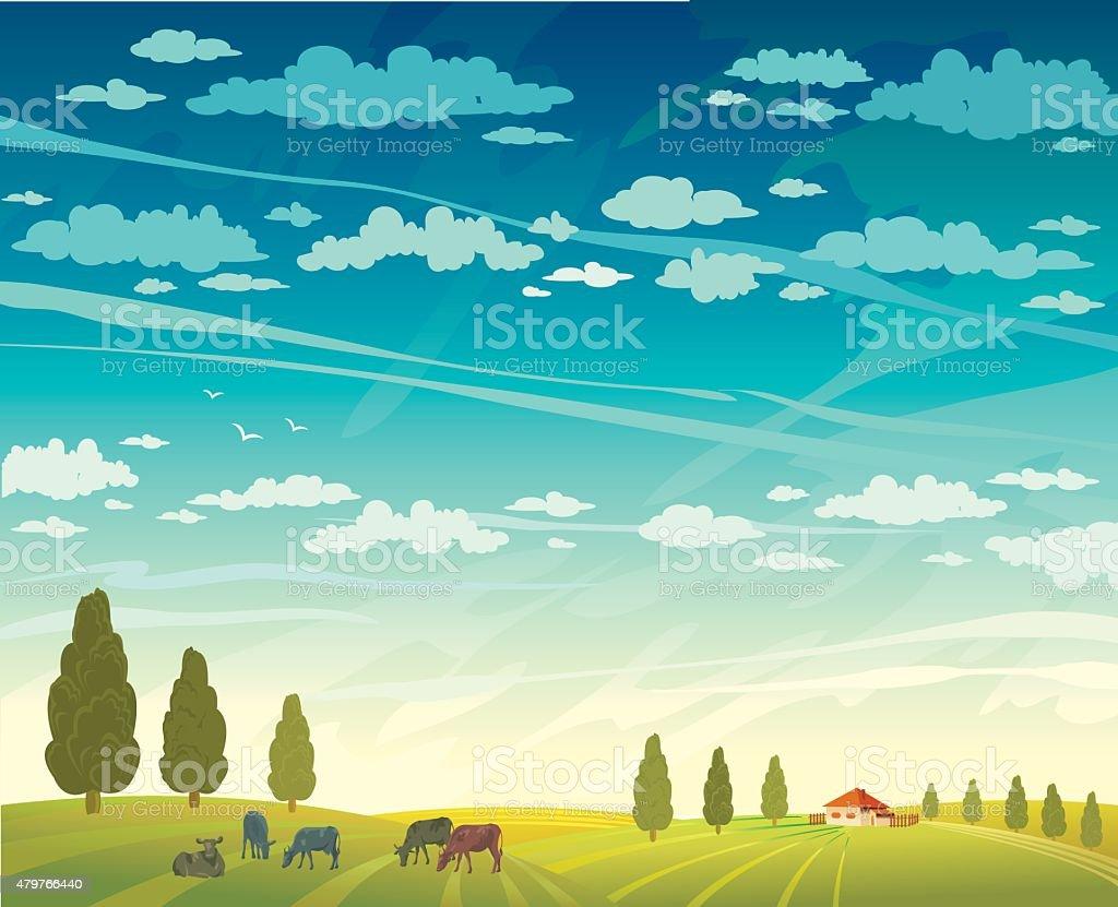 Rural summer landscape and cows. vector art illustration