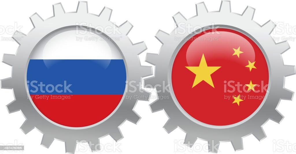 Russia and China cooperation vector art illustration