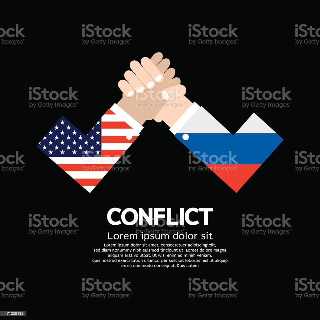 USA VS Russia Arm-Wrestle vector art illustration