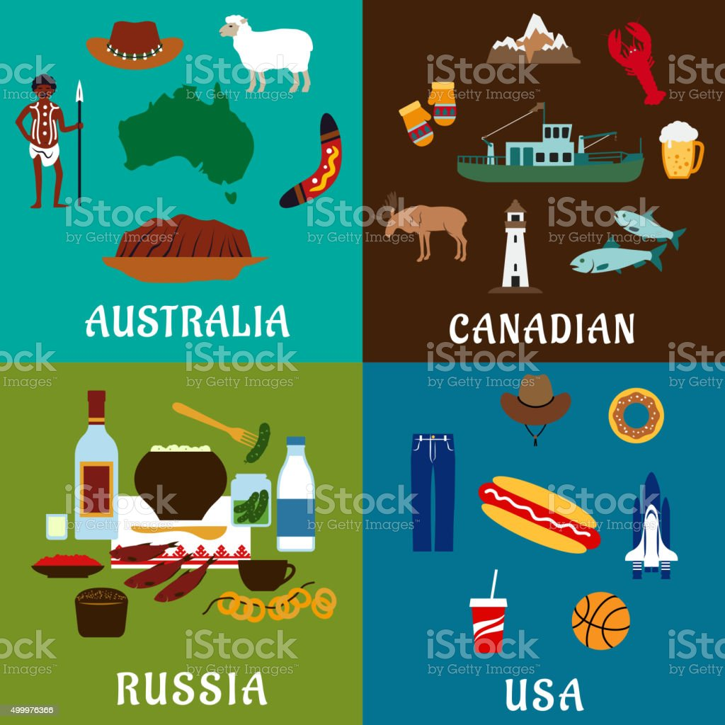 Russia, Canada, USA and Australia travel icons vector art illustration