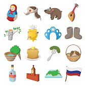 Russia cartoon icons