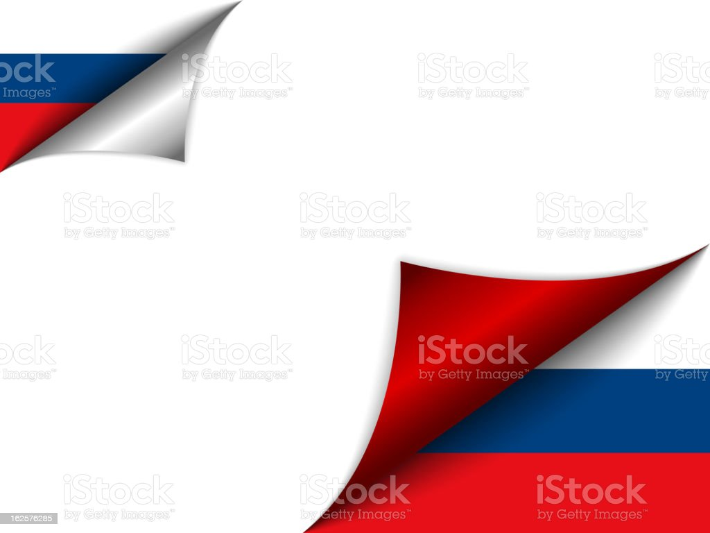 Russia Country Flag Turning Page royalty-free stock vector art
