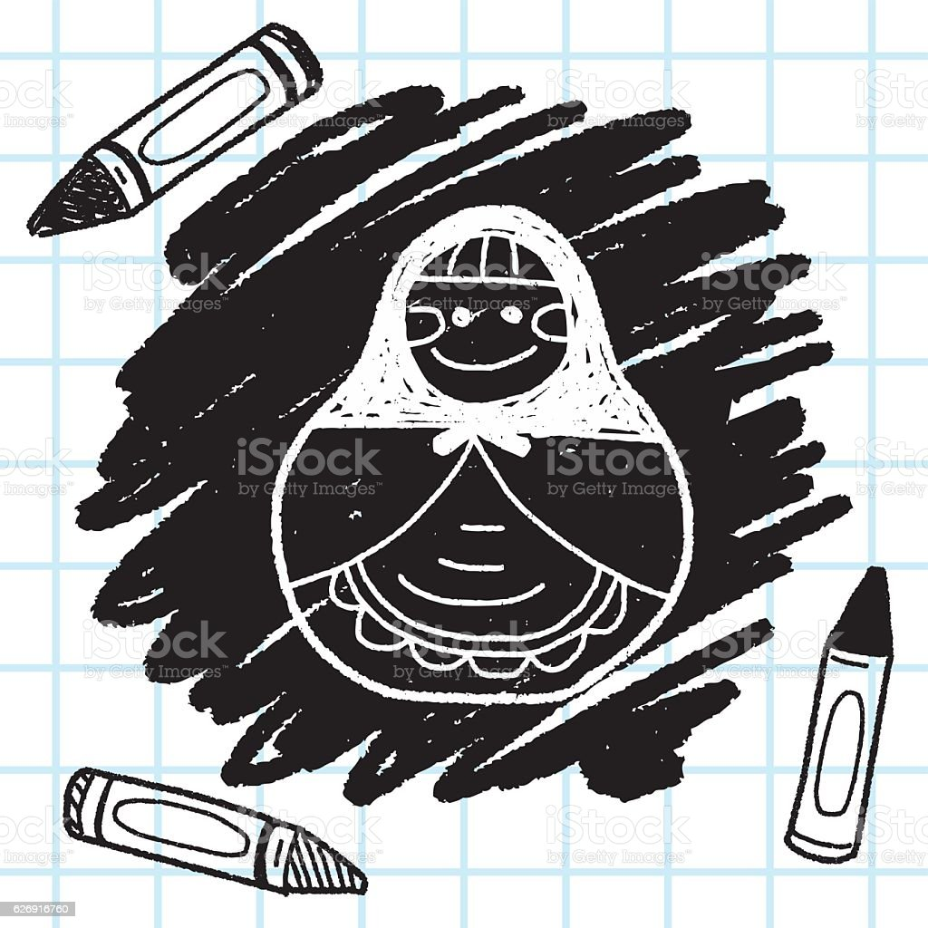 Russia doll doodle vector art illustration
