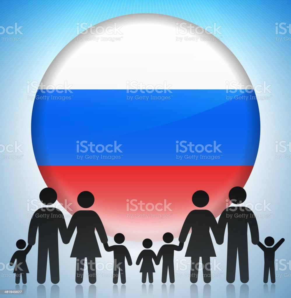 Russia Family Concept Stick Figures royalty-free stock vector art