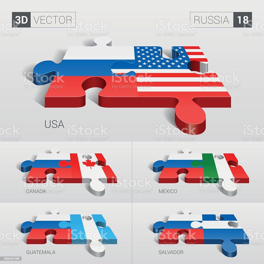 Russia Flag. 3d vector puzzle. Set 18. vector art illustration