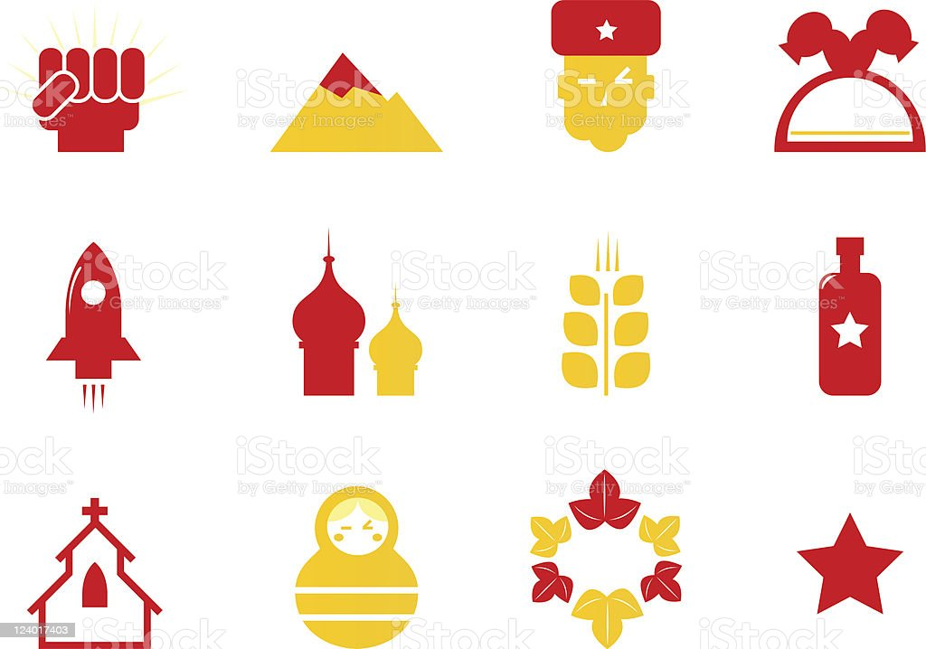 Russia icons & communist stereotypes isolated on white ( red & yellow ) royalty-free stock vector art