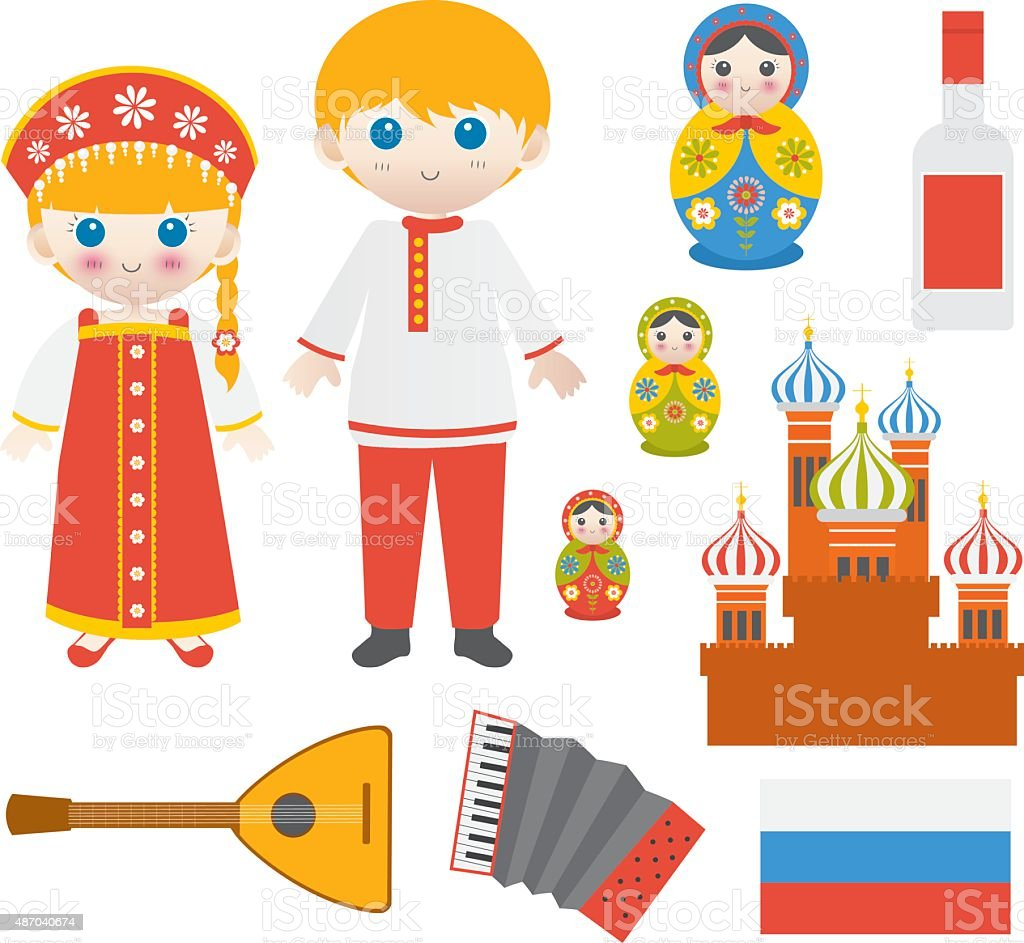 Russia Icons vector art illustration