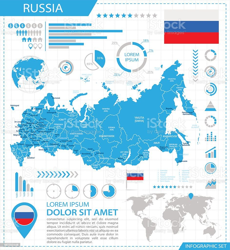 Russia - infographic map - Illustration vector art illustration