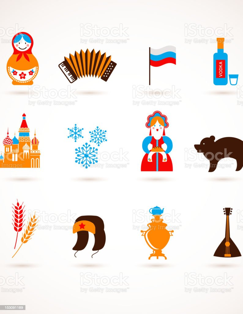 Russia love - heart with vector icons vector art illustration