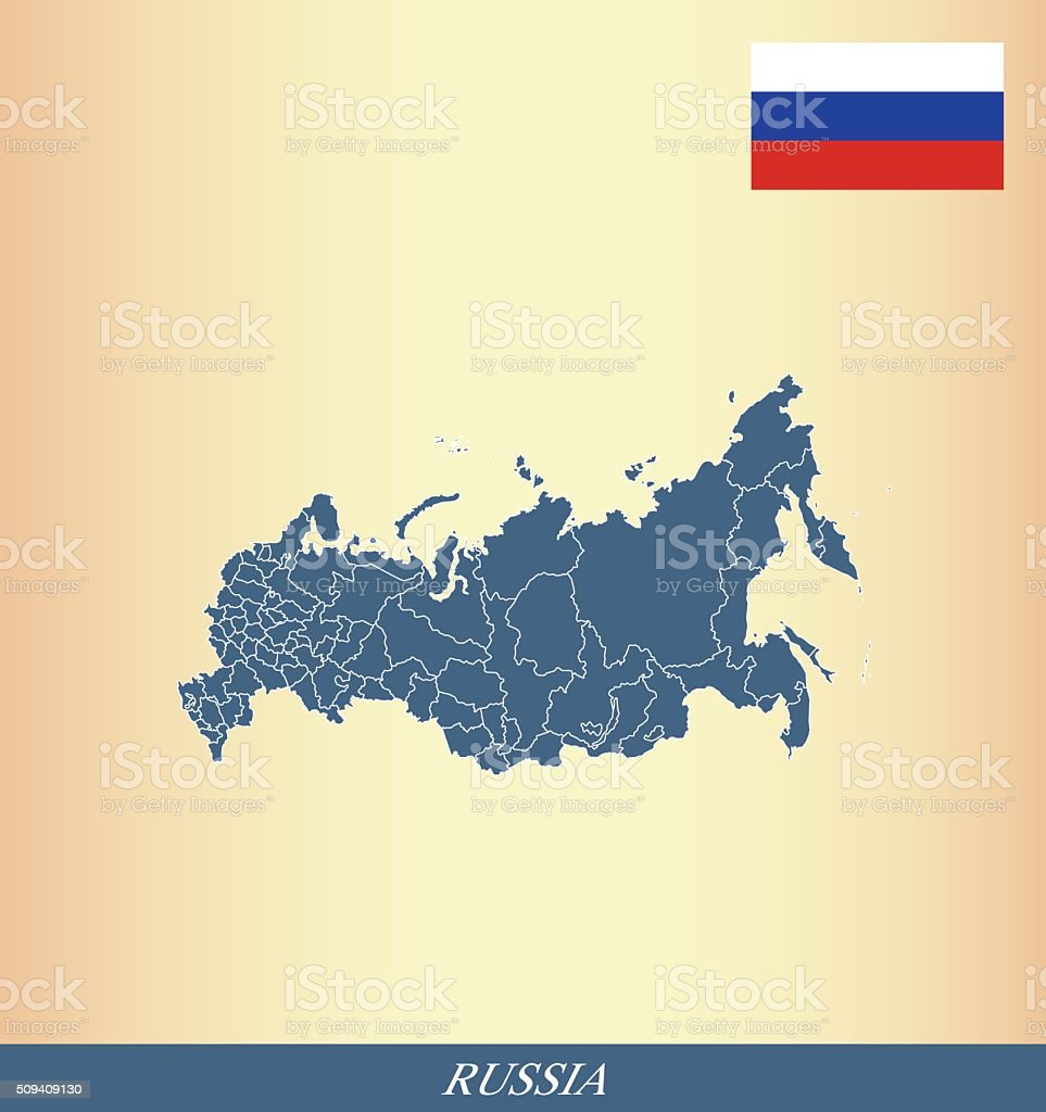 Russia map outline vector and Russia flag vector outline vector art illustration