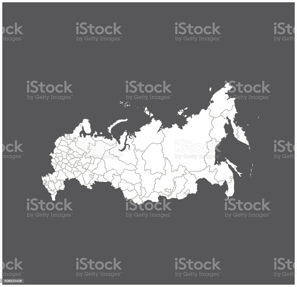 Russia map outline vector in gray background vector art illustration