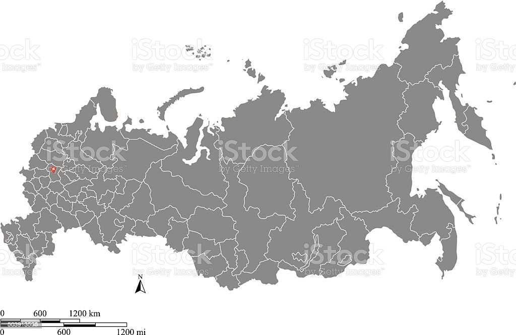 Russia map outline vector with scales of miles and kilometers vector art illustration