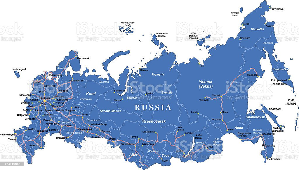 Russia map vector art illustration