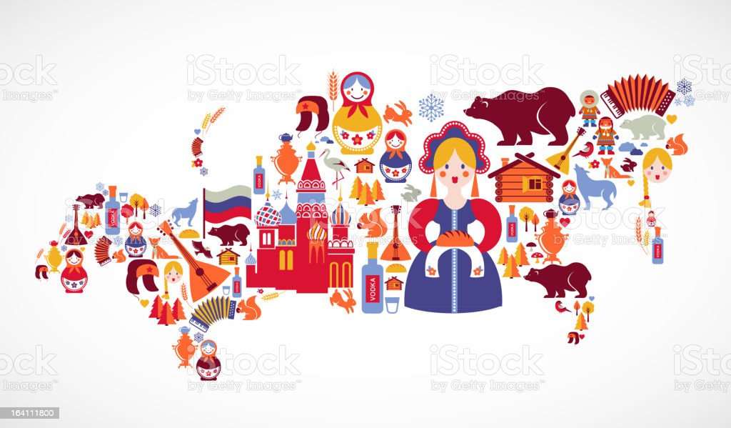 Russia map with vector icons vector art illustration