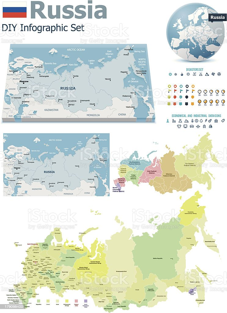 Russia maps with markers royalty-free stock vector art
