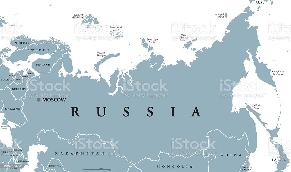 Russia political map vector art illustration